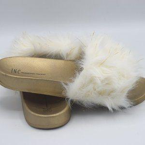 I.N.C. Women's Faux-Fur Slide Slippers White